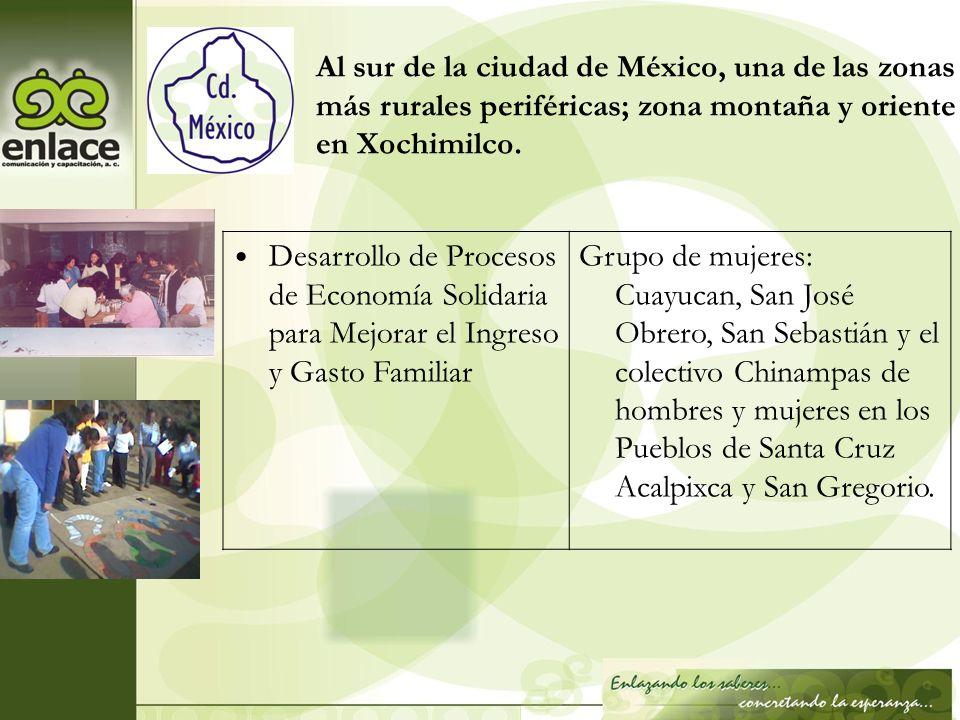 Al sur de la ciudad de México, una de las zonas más rurales periféricas; zona montaña y oriente en Xochimilco. Desarrollo de Procesos de Economía Soli