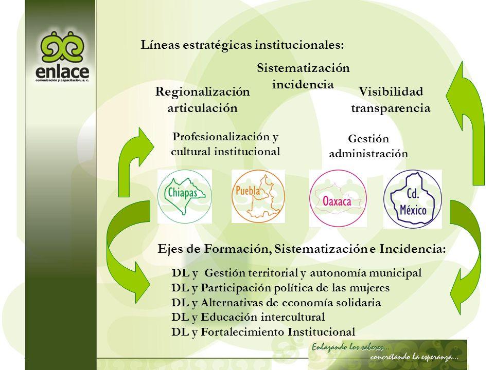 Regionalización articulación Sistematización incidencia Visibilidad transparencia Profesionalización y cultural institucional Gestión administración D