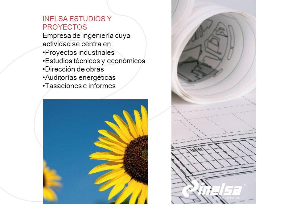 INELSA ESTUDIOS Y PROYECTOS Empresa de ingeniería cuya actividad se centra en: Proyectos industriales Estudios técnicos y económicos Dirección de obra