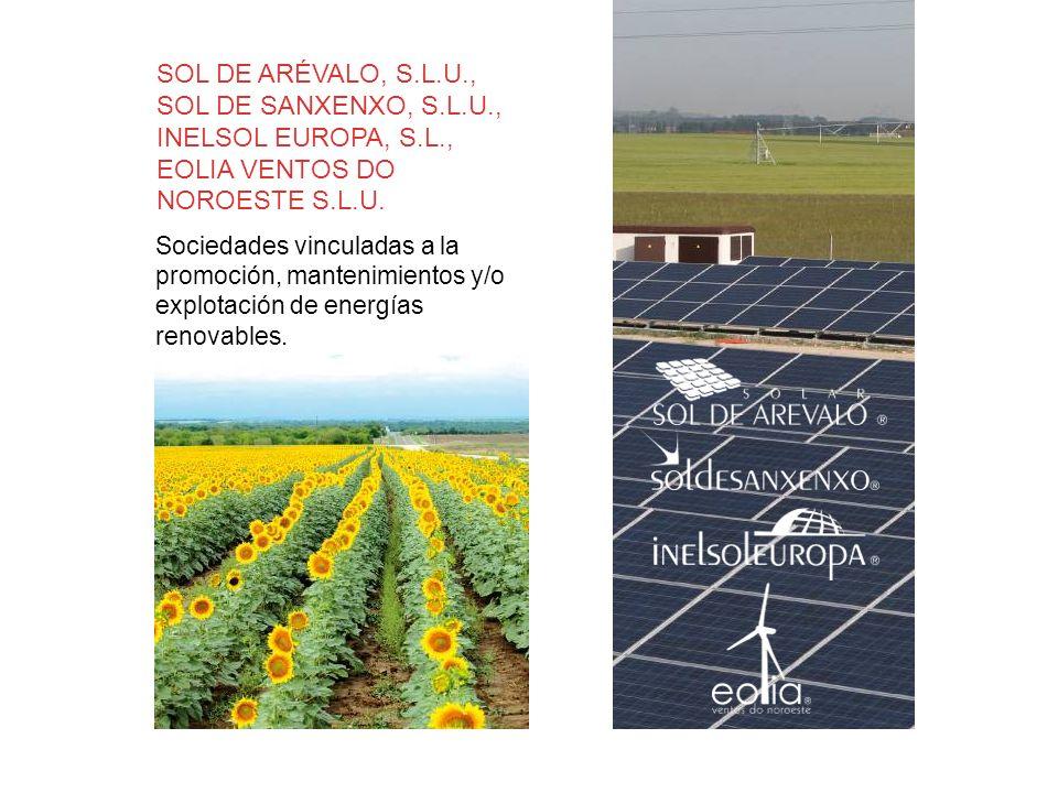 Sociedades vinculadas a la promoción, mantenimientos y/o explotación de energías renovables. SOL DE ARÉVALO, S.L.U., SOL DE SANXENXO, S.L.U., INELSOL