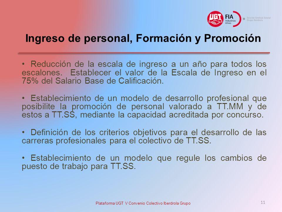 Ingreso de personal, Formación y Promoción Reducción de la escala de ingreso a un año para todos los escalones.