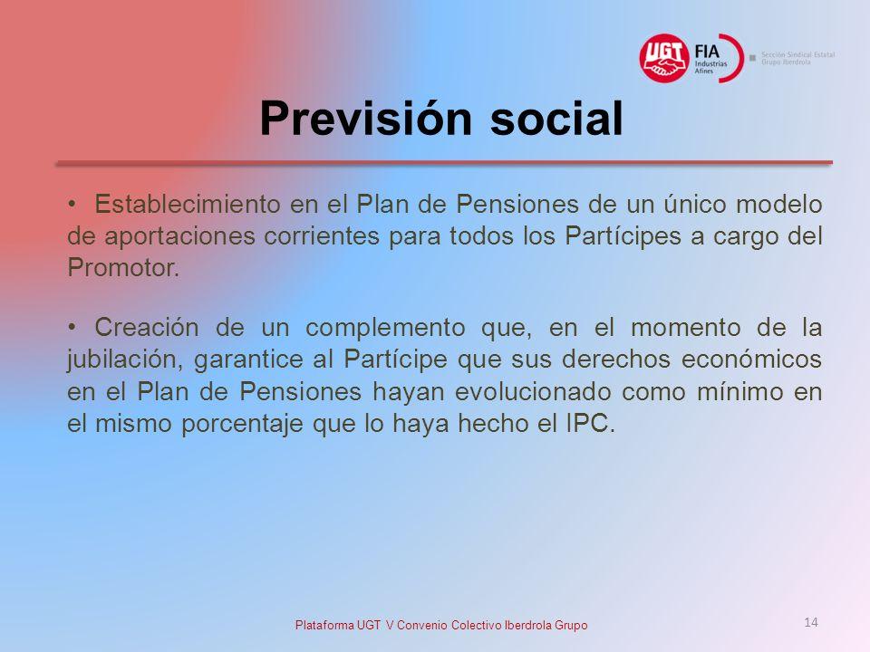 Previsión social Establecimiento en el Plan de Pensiones de un único modelo de aportaciones corrientes para todos los Partícipes a cargo del Promotor.