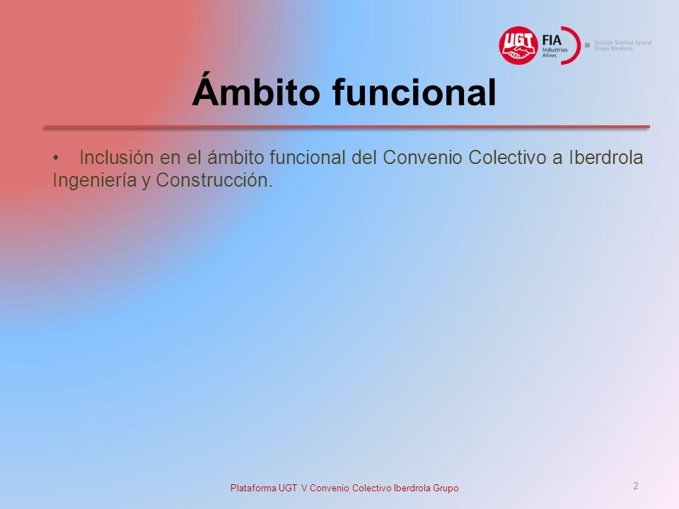 Ámbito funcional Inclusión en el ámbito funcional del Convenio Colectivo a Iberdrola Ingeniería y Construcción.