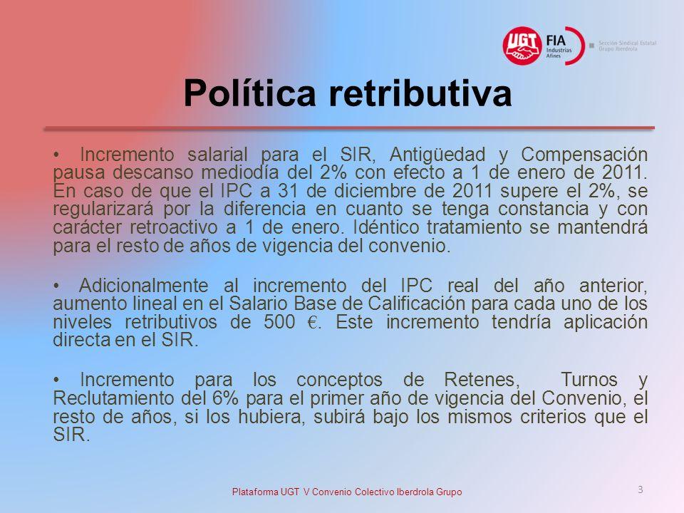 Política retributiva Incremento salarial para el SIR, Antigüedad y Compensación pausa descanso mediodía del 2% con efecto a 1 de enero de 2011.