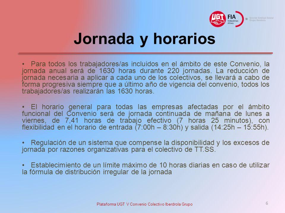 Jornada y horarios Para todos los trabajadores/as incluidos en el ámbito de este Convenio, la jornada anual será de 1630 horas durante 220 jornadas.