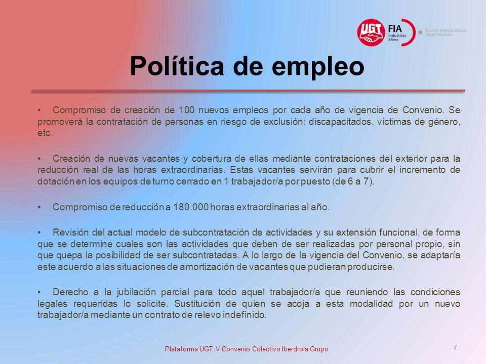 Política de empleo Compromiso de creación de 100 nuevos empleos por cada año de vigencia de Convenio.