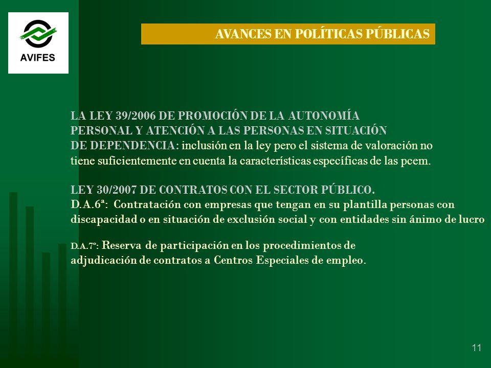 11 LA LEY 39/2006 DE PROMOCIÓN DE LA AUTONOMÍA PERSONAL Y ATENCIÓN A LAS PERSONAS EN SITUACIÓN DE DEPENDENCIA : inclusión en la ley pero el sistema de valoración no tiene suficientemente en cuenta la características específicas de las pcem.