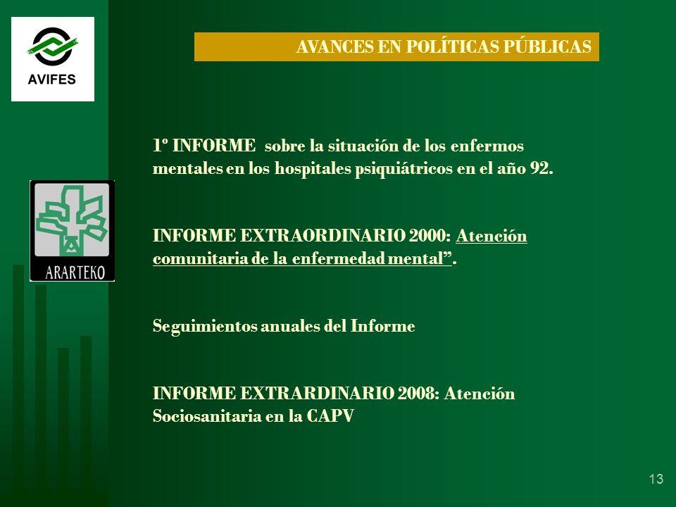 13 AVANCES EN POLÍTICAS PÚBLICAS 1º INFORME sobre la situación de los enfermos mentales en los hospitales psiquiátricos en el año 92.