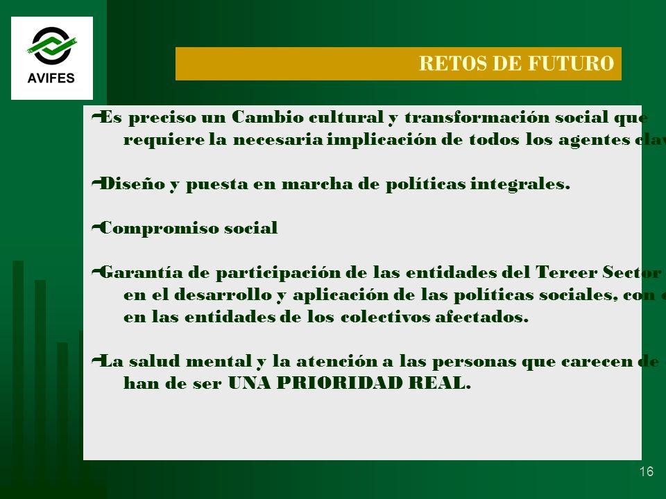 16 RETOS DE FUTURO Es preciso un Cambio cultural y transformación social que requiere la necesaria implicación de todos los agentes clave.