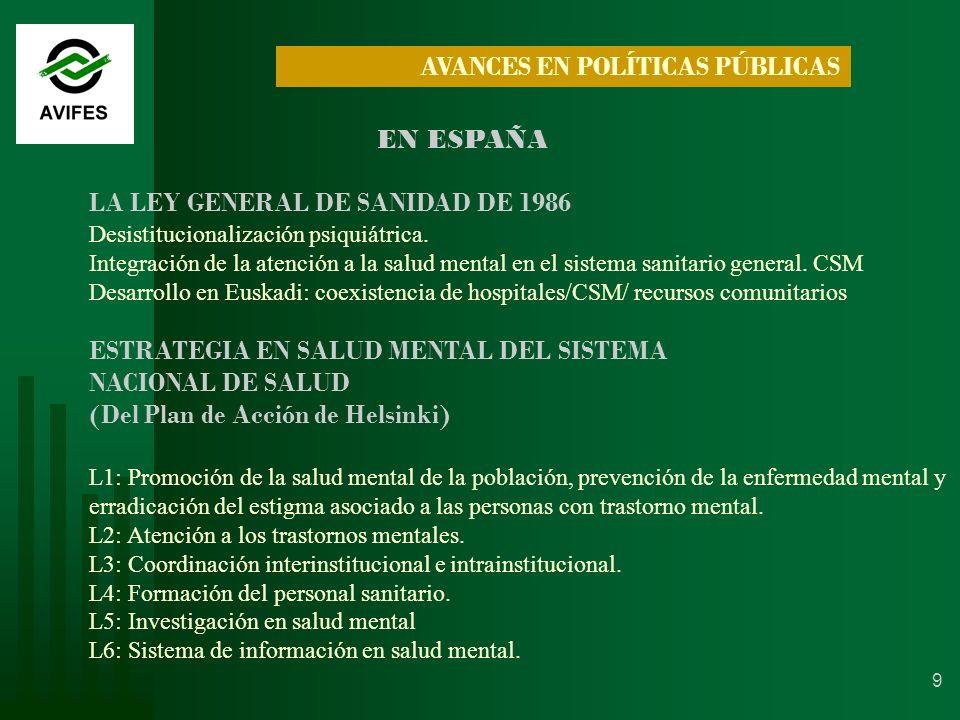 9 EN ESPAÑA LA LEY GENERAL DE SANIDAD DE 1986 Desistitucionalización psiquiátrica.