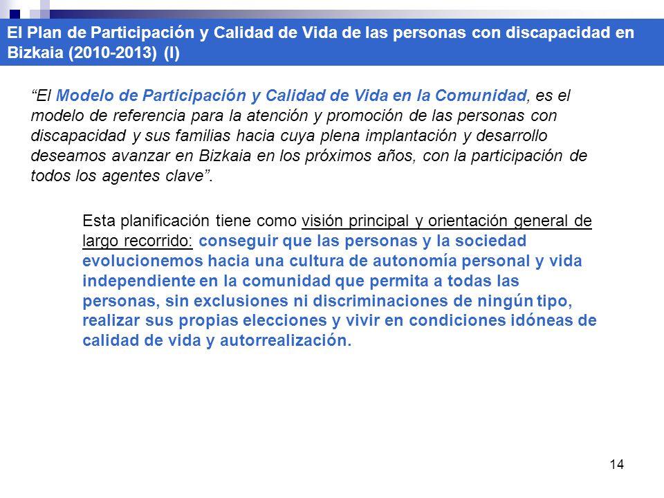 14 El Plan de Participación y Calidad de Vida de las personas con discapacidad en Bizkaia (2010-2013) (I) El Modelo de Participación y Calidad de Vida