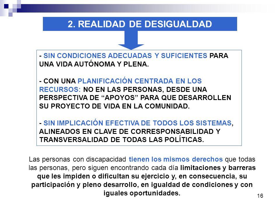 16 2. REALIDAD DE DESIGUALDAD - SIN CONDICIONES ADECUADAS Y SUFICIENTES PARA UNA VIDA AUTÓNOMA Y PLENA. - CON UNA PLANIFICACIÓN CENTRADA EN LOS RECURS