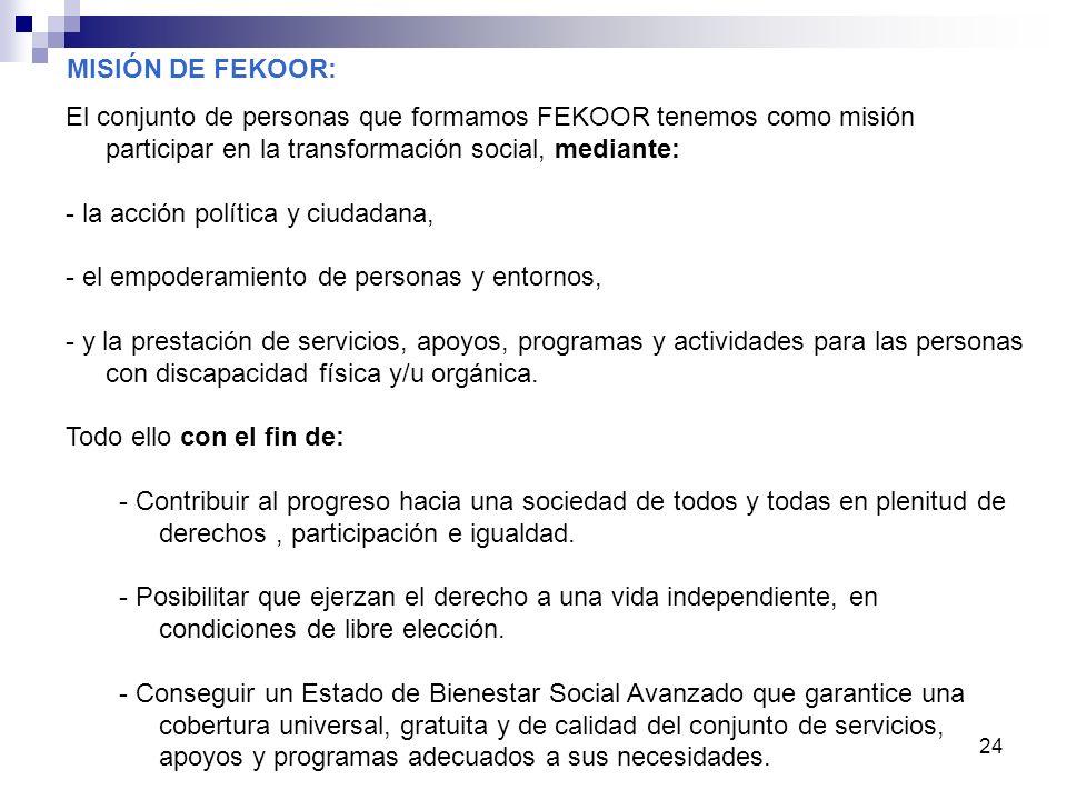 24 El conjunto de personas que formamos FEKOOR tenemos como misión participar en la transformación social, mediante: - la acción política y ciudadana,