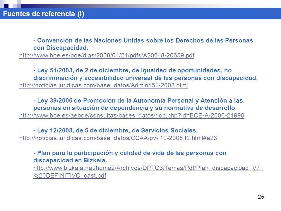 25 Fuentes de referencia (I) - Convención de las Naciones Unidas sobre los Derechos de las Personas con Discapacidad. http://www.boe.es/boe/dias/2008/