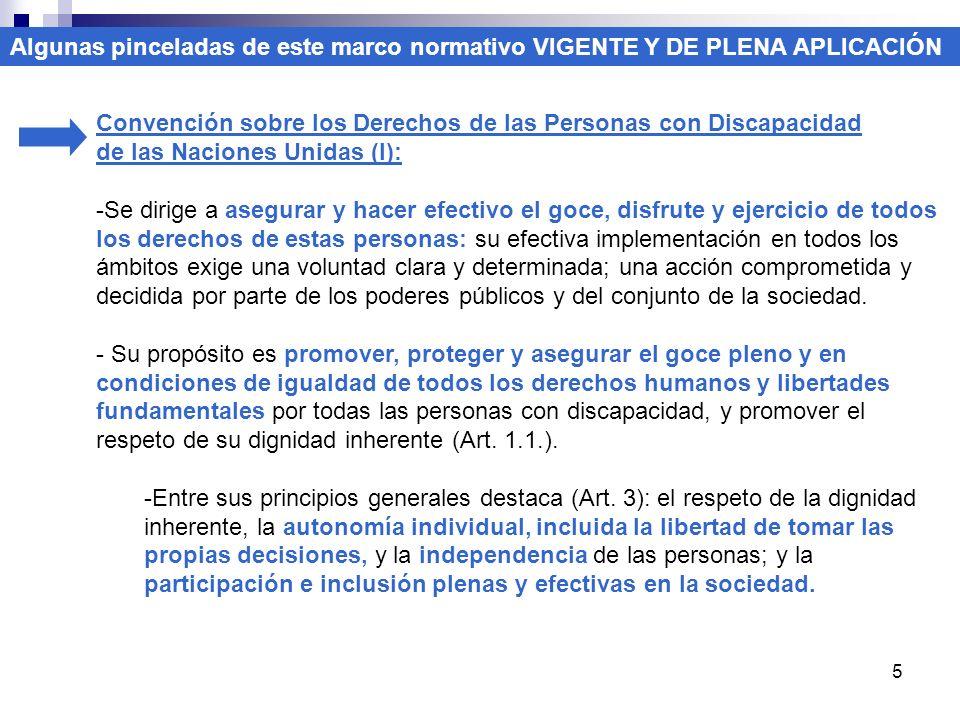 5 Convención sobre los Derechos de las Personas con Discapacidad de las Naciones Unidas (I): -Se dirige a asegurar y hacer efectivo el goce, disfrute