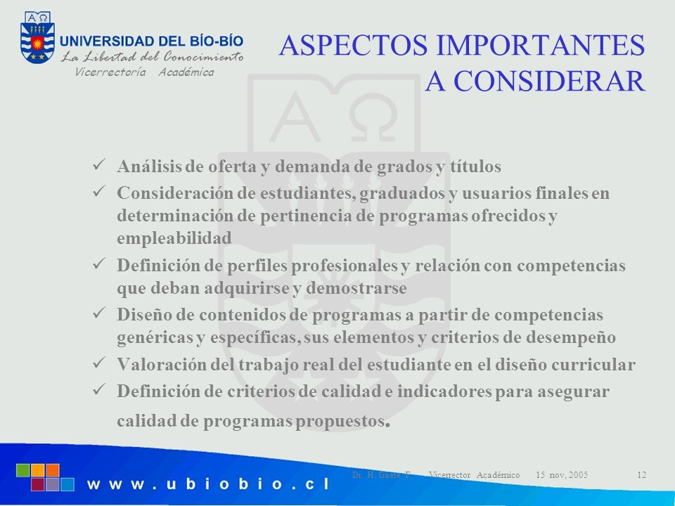 Vicerrectoría Académica Dr. H. Gaete F. Vicerrector Académico 15 nov, 200512 ASPECTOS IMPORTANTES A CONSIDERAR Análisis de oferta y demanda de grados