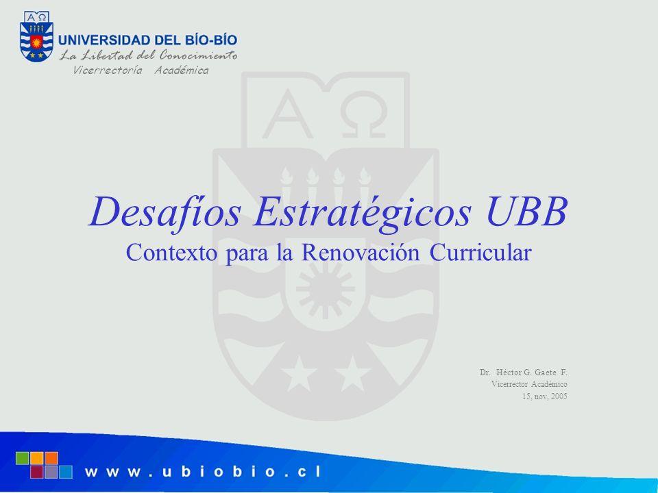 Vicerrectoría Académica Desafíos Estratégicos UBB Contexto para la Renovación Curricular Dr. Héctor G. Gaete F. Vicerrector Académico 15, nov, 2005