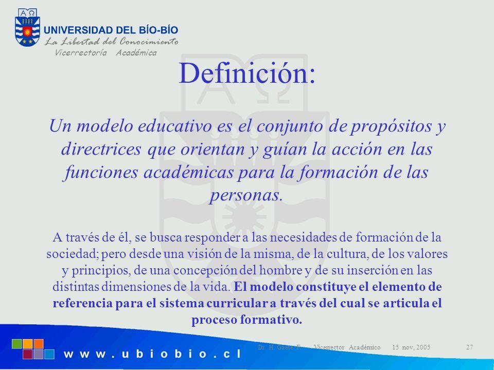 Vicerrectoría Académica Dr. H. Gaete F. Vicerrector Académico 15 nov, 200527 Definición: Un modelo educativo es el conjunto de propósitos y directrice