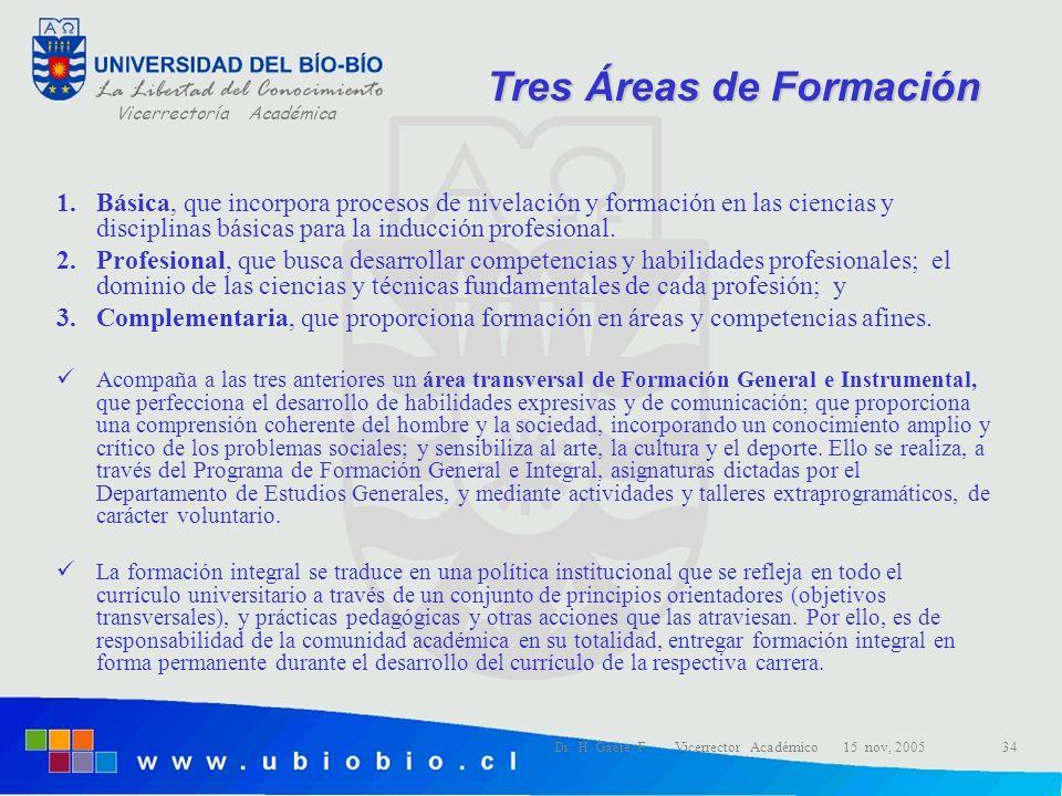 Vicerrectoría Académica Dr. H. Gaete F. Vicerrector Académico 15 nov, 200534 1.Básica, que incorpora procesos de nivelación y formación en las ciencia