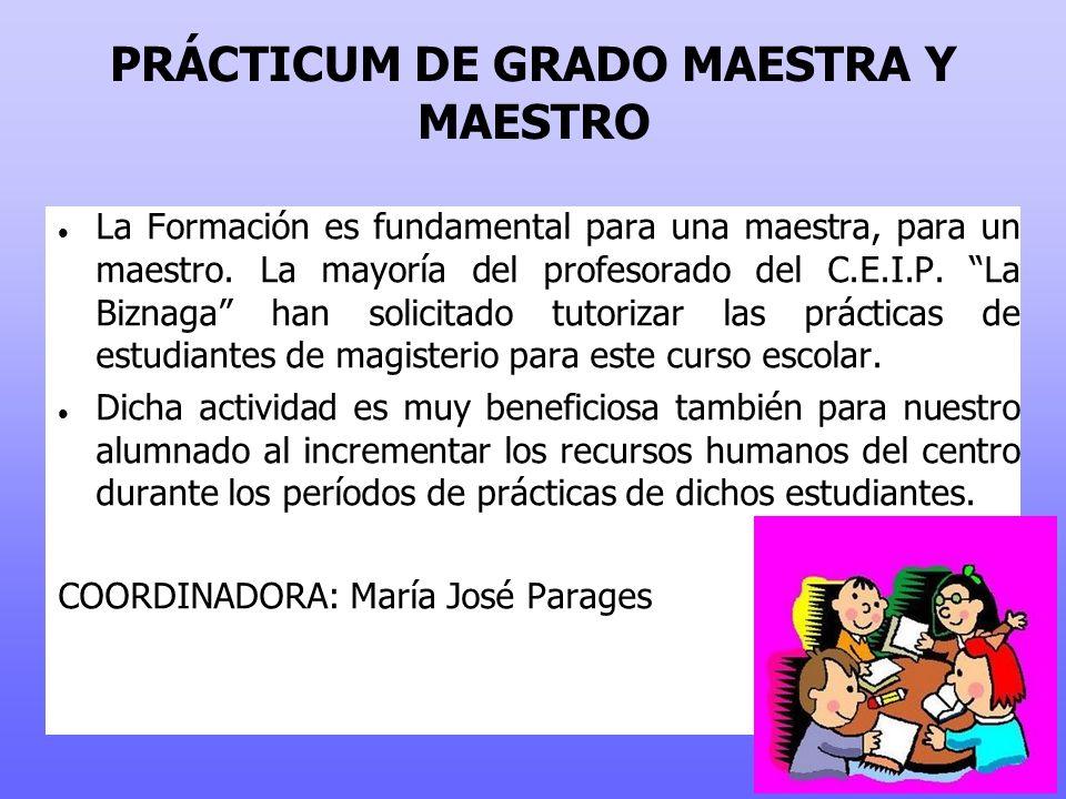 PRÁCTICUM DE GRADO MAESTRA Y MAESTRO La Formación es fundamental para una maestra, para un maestro.