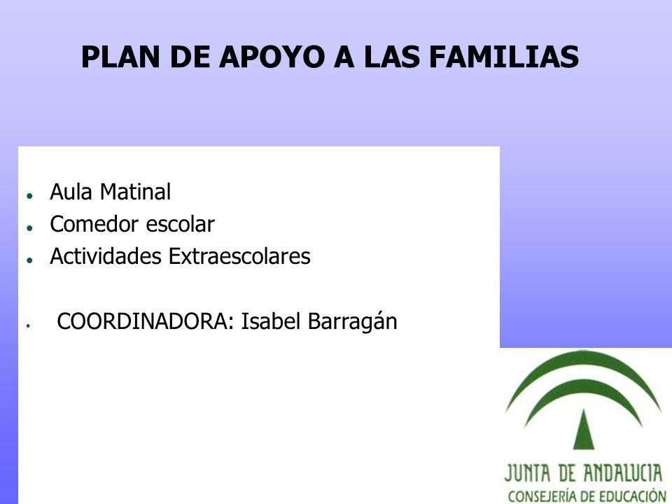 PLAN DE APOYO A LAS FAMILIAS Aula Matinal Comedor escolar Actividades Extraescolares COORDINADORA: Isabel Barragán