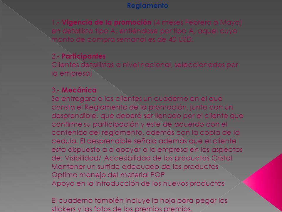 Reglamento 1.- Vigencia de la promoción (4 meses Febrero a Mayo) en detallista tipo A, entiéndase por tipo A, aquel cuyo monto de compra semanal es de