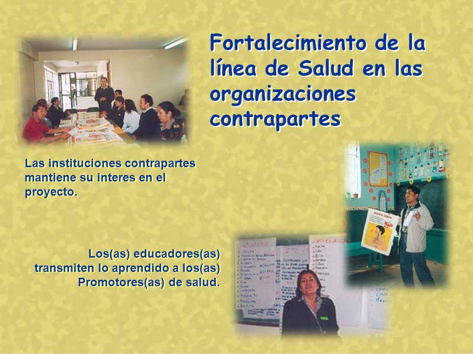 Fortalecimiento de la línea de Salud en las organizaciones contrapartes Las instituciones contrapartes mantiene su interes en el proyecto.