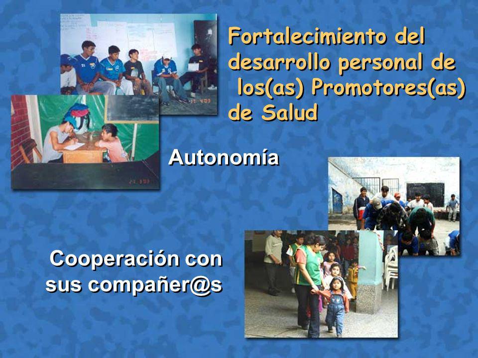 Autonomía Cooperación con sus compañer@s Fortalecimiento del desarrollo personal de los(as) Promotores(as) de Salud Fortalecimiento del desarrollo personal de los(as) Promotores(as) de Salud