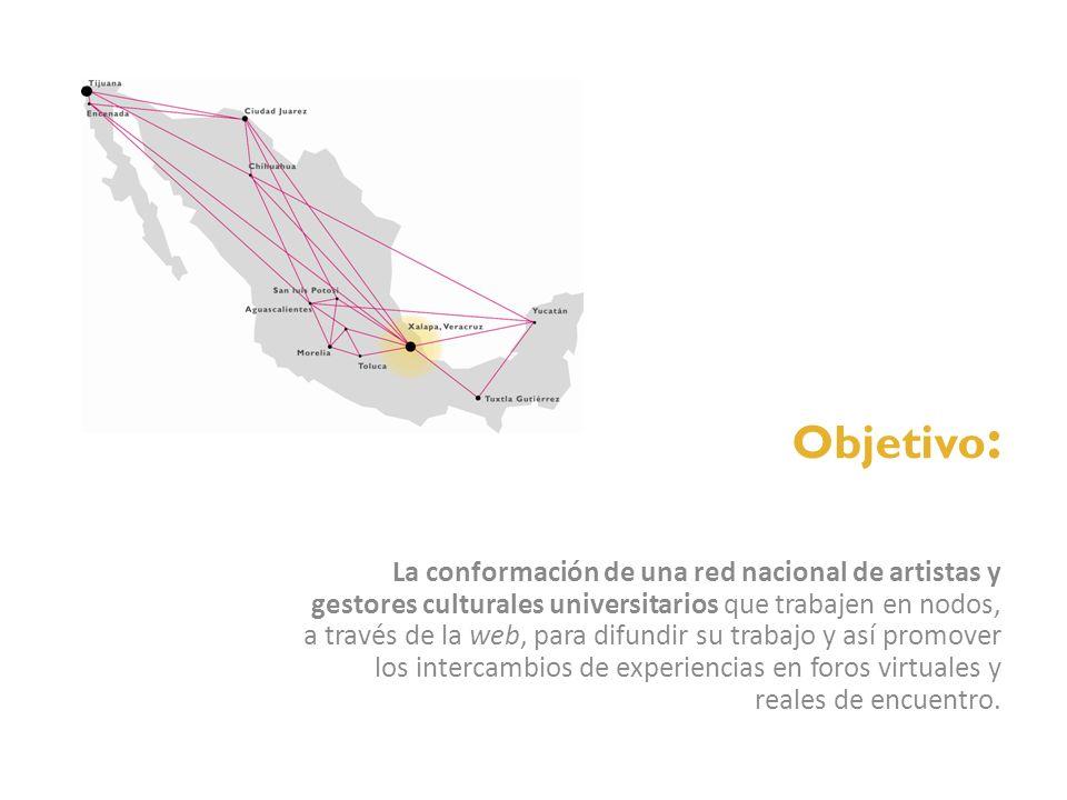 Objetivo : La conformación de una red nacional de artistas y gestores culturales universitarios que trabajen en nodos, a través de la web, para difund