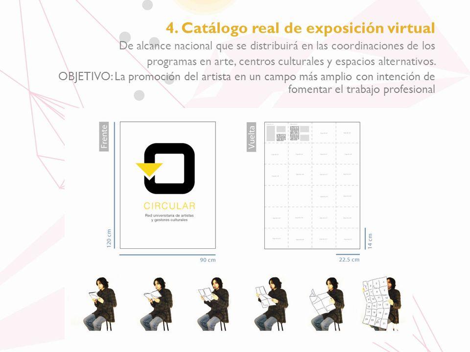 4. Catálogo real de exposición virtual De alcance nacional que se distribuirá en las coordinaciones de los programas en arte, centros culturales y esp