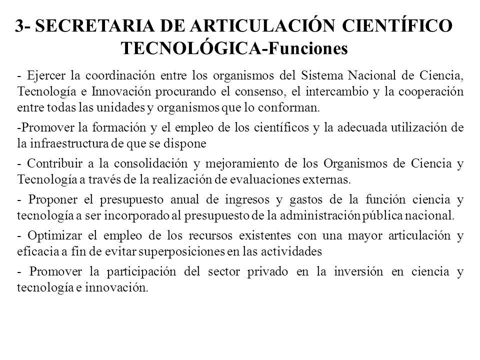 3- SECRETARIA DE ARTICULACIÓN CIENTÍFICO TECNOLÓGICA-Funciones - Ejercer la coordinación entre los organismos del Sistema Nacional de Ciencia, Tecnolo