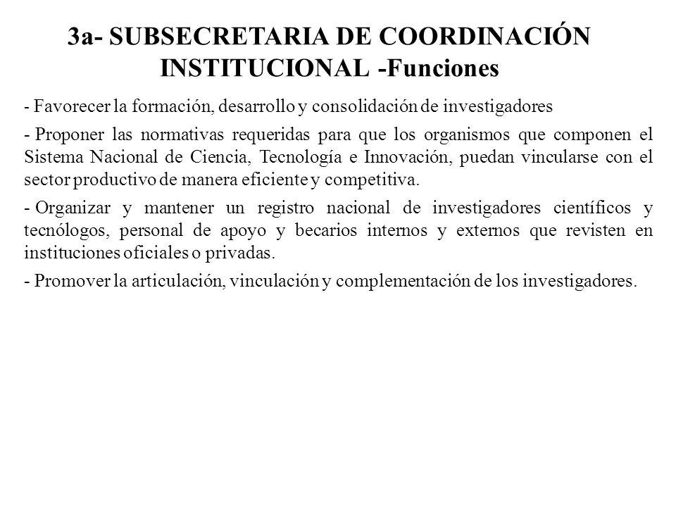 3a- SUBSECRETARIA DE COORDINACIÓN INSTITUCIONAL -Funciones - Favorecer la formación, desarrollo y consolidación de investigadores - Proponer las norma