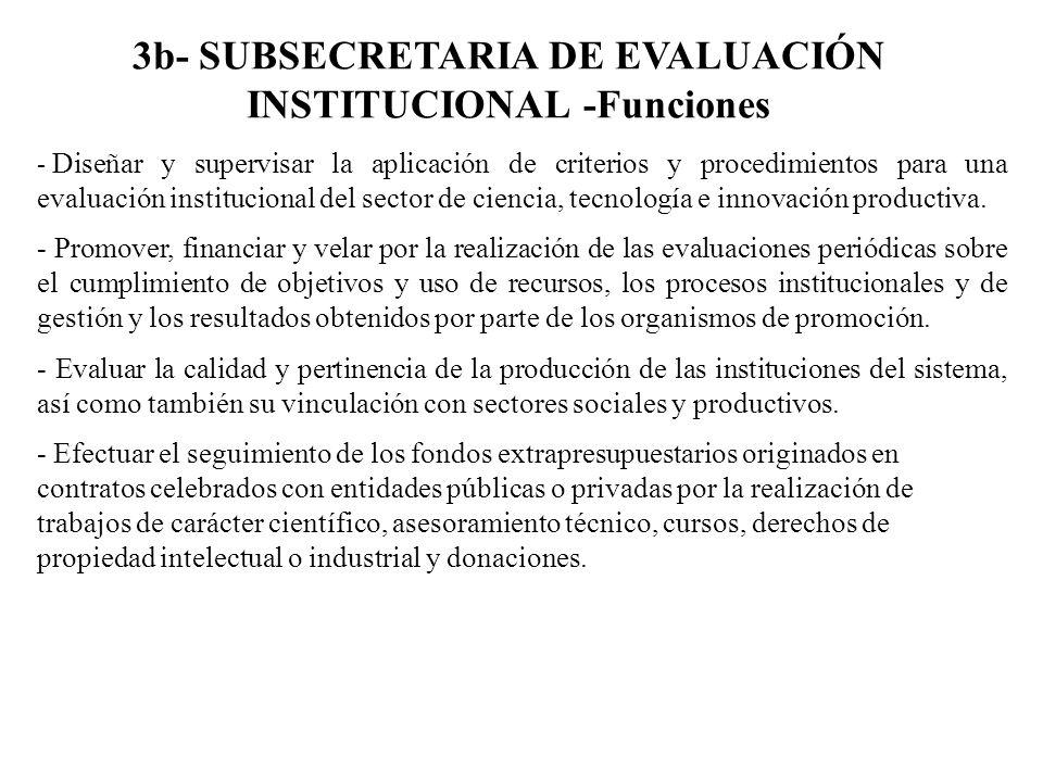 3b- SUBSECRETARIA DE EVALUACIÓN INSTITUCIONAL -Funciones - Diseñar y supervisar la aplicación de criterios y procedimientos para una evaluación instit
