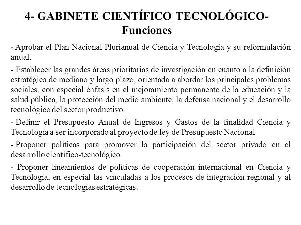 4- GABINETE CIENTÍFICO TECNOLÓGICO- Funciones - Aprobar el Plan Nacional Plurianual de Ciencia y Tecnología y su reformulación anual. - Establecer las