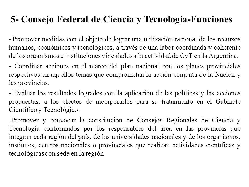 5- Consejo Federal de Ciencia y Tecnología-Funciones - Promover medidas con el objeto de lograr una utilización racional de los recursos humanos, econ
