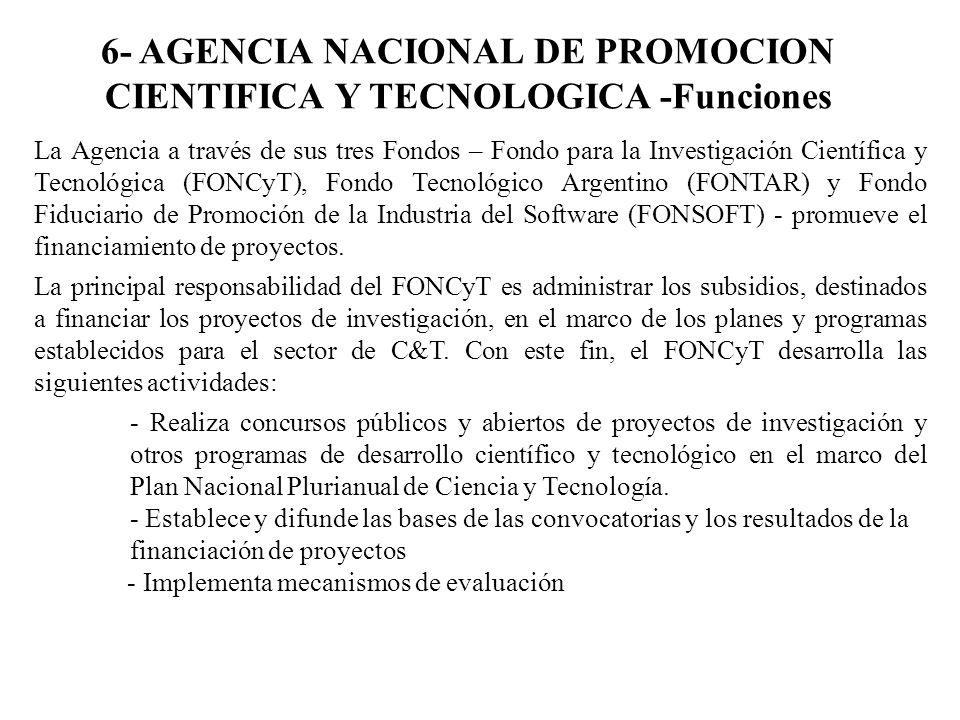 6- AGENCIA NACIONAL DE PROMOCION CIENTIFICA Y TECNOLOGICA -Funciones La Agencia a través de sus tres Fondos – Fondo para la Investigación Científica y