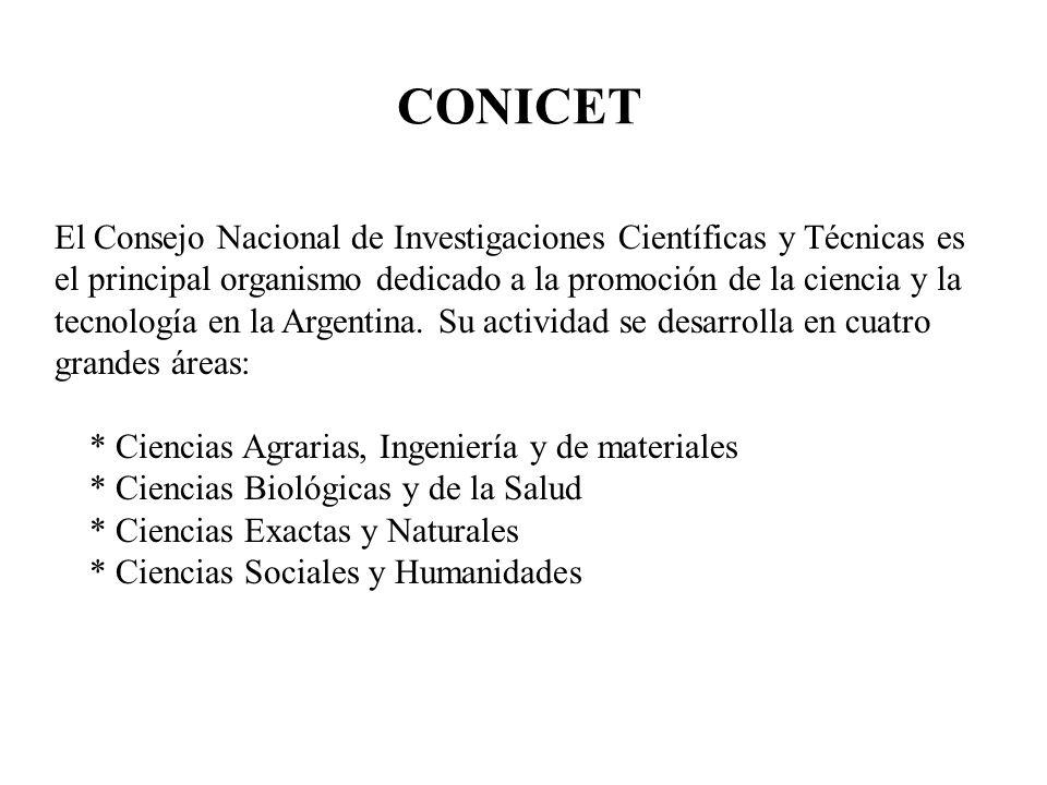 CONICET El Consejo Nacional de Investigaciones Científicas y Técnicas es el principal organismo dedicado a la promoción de la ciencia y la tecnología