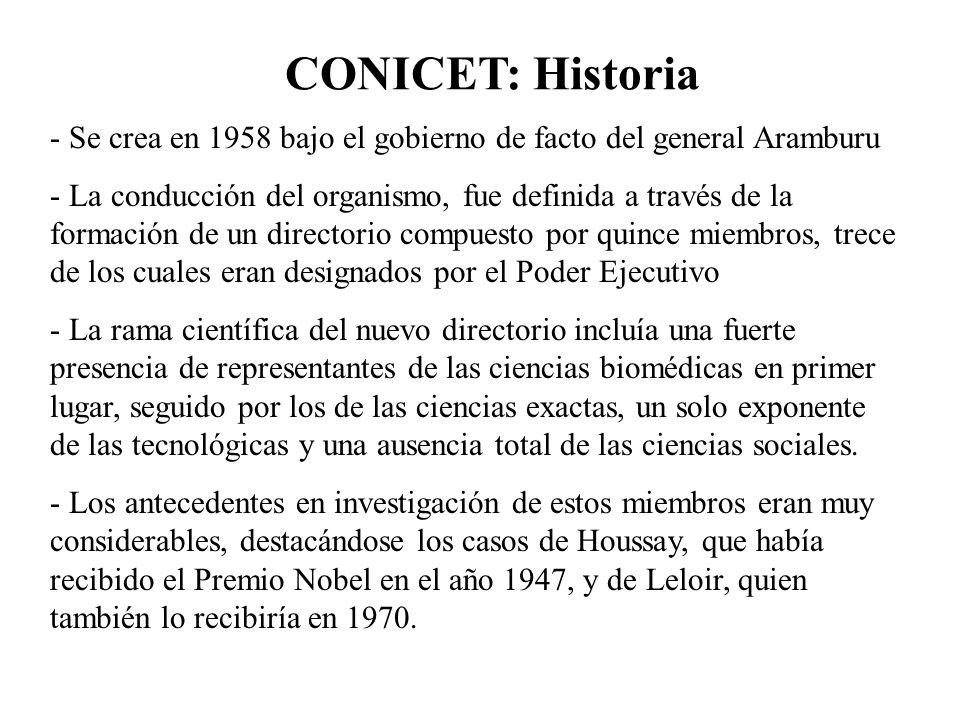 CONICET: Historia - Se crea en 1958 bajo el gobierno de facto del general Aramburu - La conducción del organismo, fue definida a través de la formació