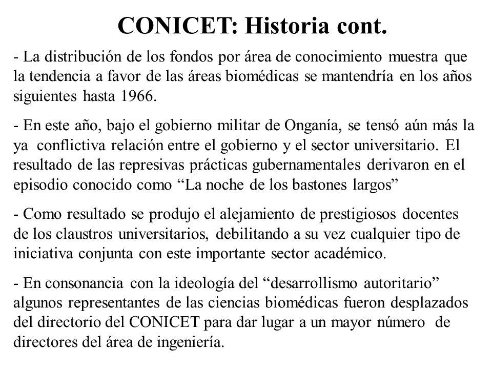 CONICET: Historia cont. - La distribución de los fondos por área de conocimiento muestra que la tendencia a favor de las áreas biomédicas se mantendrí