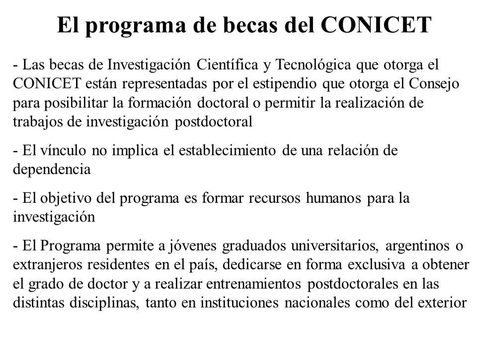 El programa de becas del CONICET - Las becas de Investigación Científica y Tecnológica que otorga el CONICET están representadas por el estipendio que