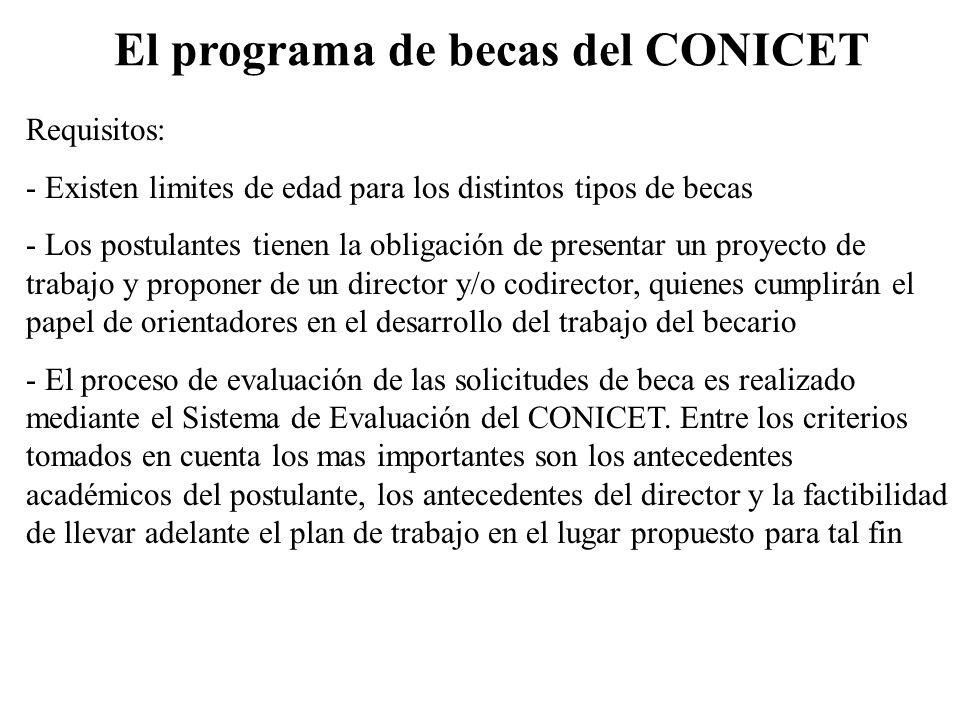 El programa de becas del CONICET Requisitos: - Existen limites de edad para los distintos tipos de becas - Los postulantes tienen la obligación de pre