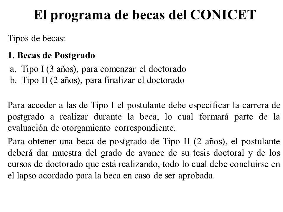 El programa de becas del CONICET Tipos de becas: 1. Becas de Postgrado a. Tipo I (3 años), para comenzar el doctorado b. Tipo II (2 años), para finali