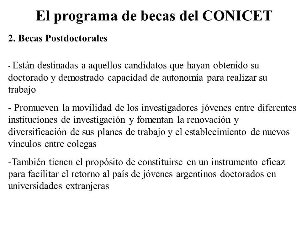 El programa de becas del CONICET 2. Becas Postdoctorales - Están destinadas a aquellos candidatos que hayan obtenido su doctorado y demostrado capacid
