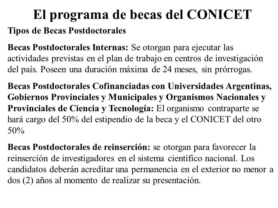 El programa de becas del CONICET Tipos de Becas Postdoctorales Becas Postdoctorales Internas: Se otorgan para ejecutar las actividades previstas en el