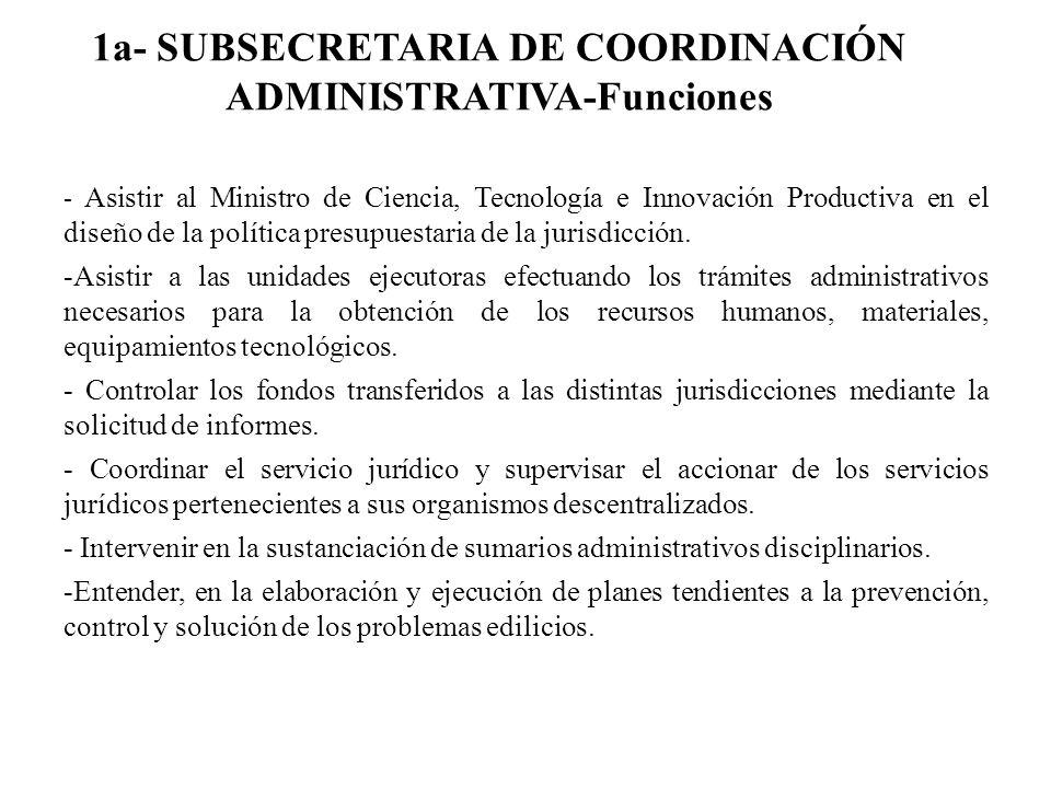 1a- SUBSECRETARIA DE COORDINACIÓN ADMINISTRATIVA-Funciones - Asistir al Ministro de Ciencia, Tecnología e Innovación Productiva en el diseño de la pol