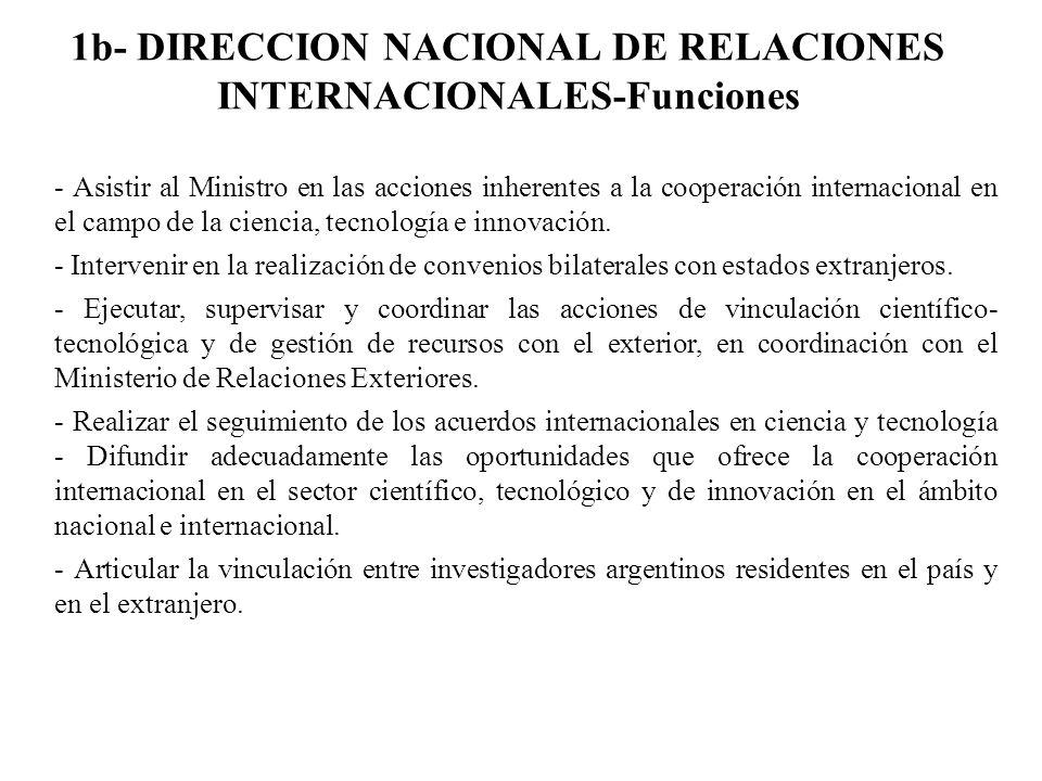 1b- DIRECCION NACIONAL DE RELACIONES INTERNACIONALES-Funciones - Asistir al Ministro en las acciones inherentes a la cooperación internacional en el c