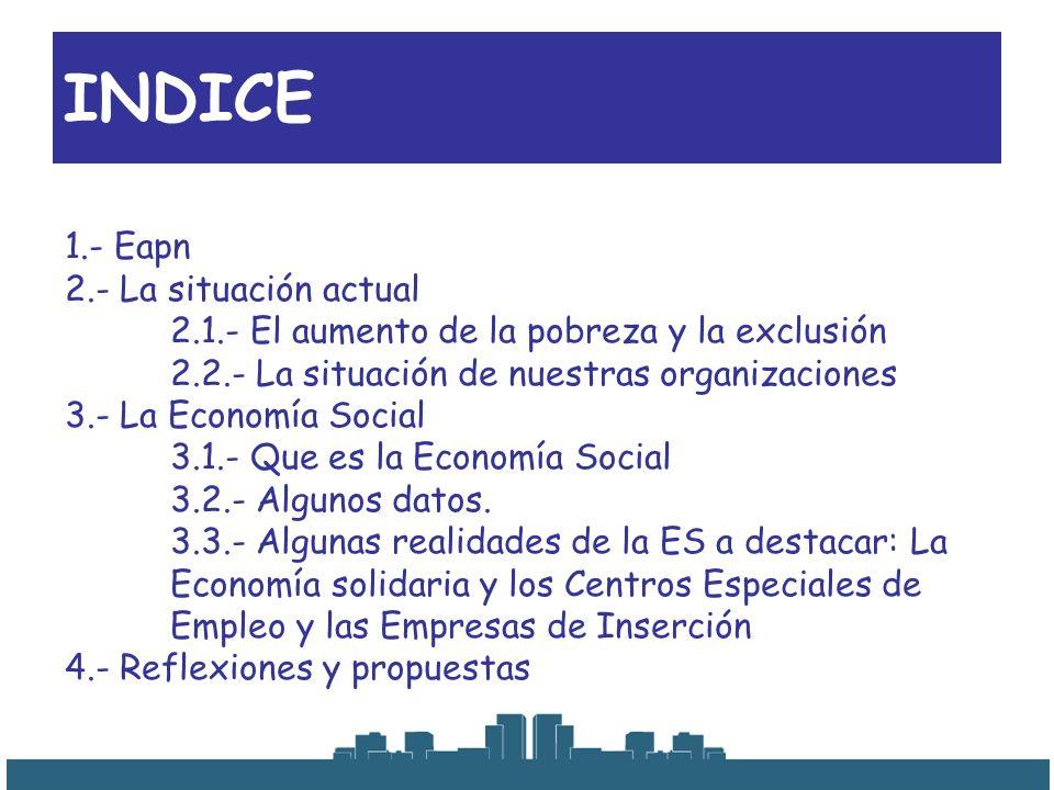 1.- Eapn 2.- La situación actual 2.1.- El aumento de la pobreza y la exclusión 2.2.- La situación de nuestras organizaciones 3.- La Economía Social 3.