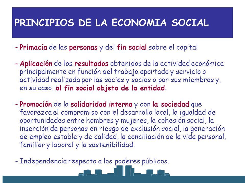 PRINCIPIOS DE LA ECONOMIA SOCIAL -Primacía de las personas y del fin social sobre el capital -Aplicación de los resultados obtenidos de la actividad e