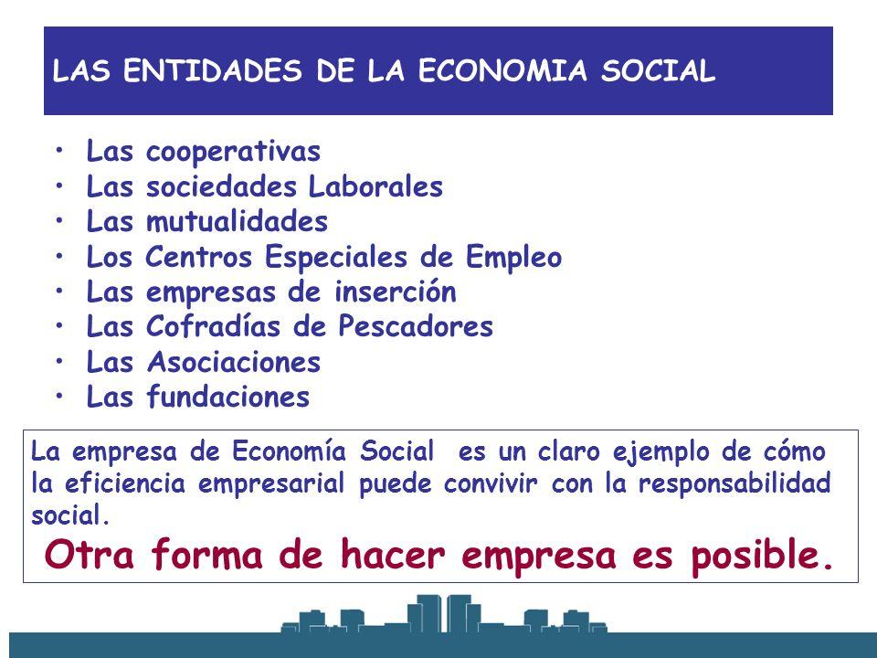 LAS ENTIDADES DE LA ECONOMIA SOCIAL Las cooperativas Las sociedades Laborales Las mutualidades Los Centros Especiales de Empleo Las empresas de inserc