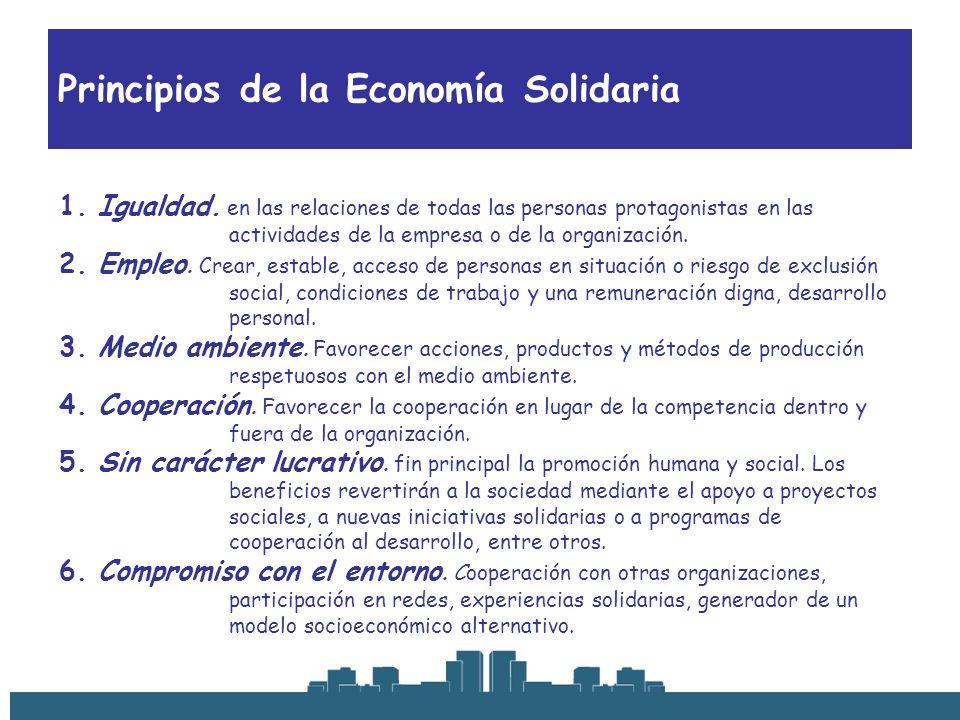 Principios de la Economía Solidaria 1. Igualdad. en las relaciones de todas las personas protagonistas en las actividades de la empresa o de la organi